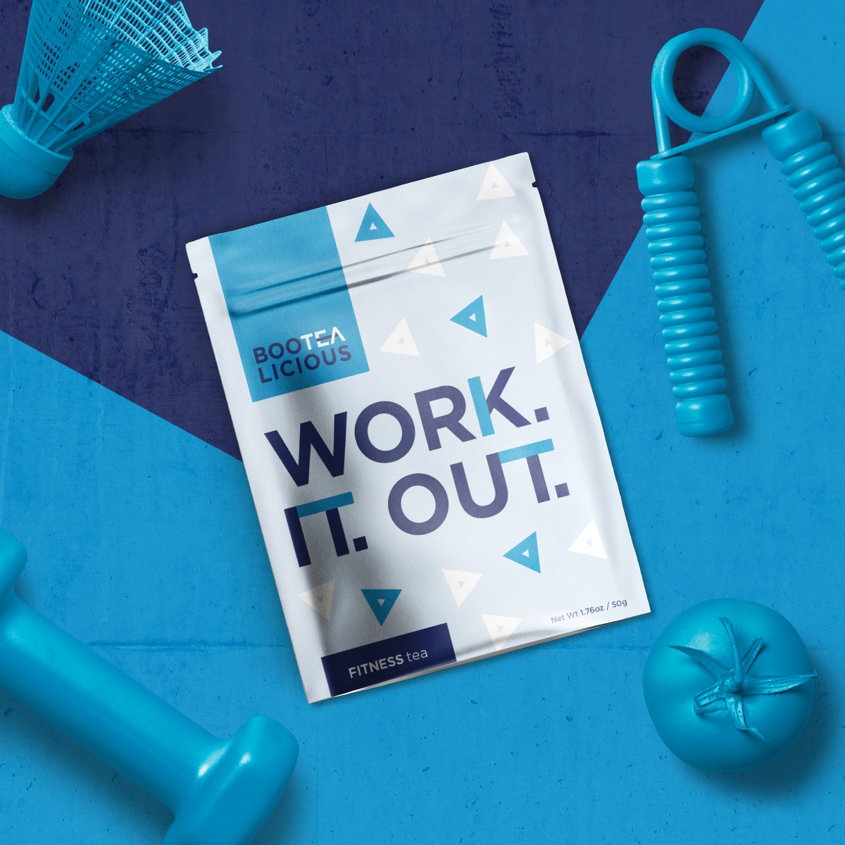 Work it out tea packaging flatlay