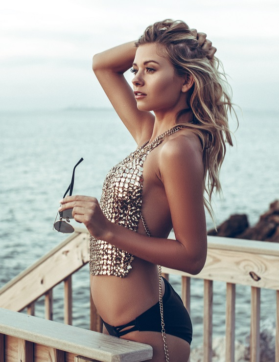 woman with gold sequin swimsuit