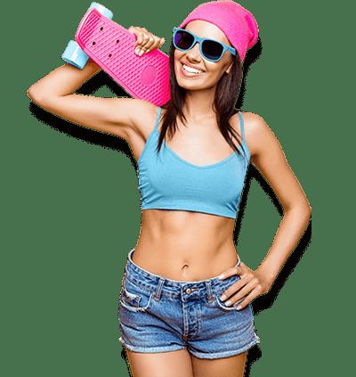 woman holding pink skateboard