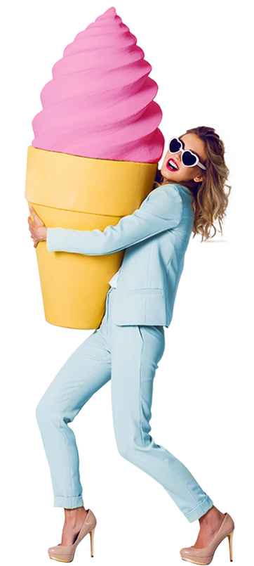 woman in a baby blue suit wearing a giant icecream